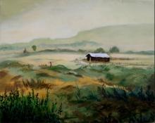 Nature Acrylic Art Painting title Hut 4 by artist Chandrashekhar P Aher