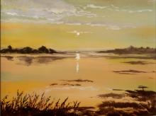 Seascape Acrylic Art Painting title Sunrise by artist Chandrashekhar P Aher