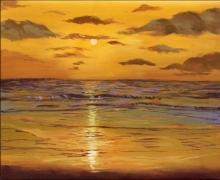 Seascape Acrylic Art Painting title Sunset by artist Chandrashekhar P Aher