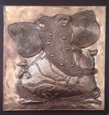 art, mixedmedia, relief copper, religious, ganesha