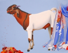 art, painting, oil, canvas, animal, goat