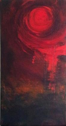 Sanjay Akolikar | Acrylic Painting title Circular Red Abstract on Canvas | Artist Sanjay Akolikar Gallery | ArtZolo.com