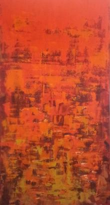 Sanjay Akolikar | Acrylic Painting title Dripping Orange on Canvas | Artist Sanjay Akolikar Gallery | ArtZolo.com