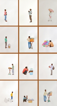art, painting, mixedmedia, paper, figurative