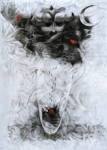 art, painting, charcoal, paper, contemporary