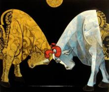 Bull Bendur | Painting by artist Dinkar Jadhav | acrylic | Canvas