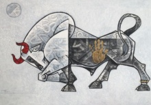 Animals Acrylic Art Painting title 'Bull 1' by artist Dinkar Jadhav