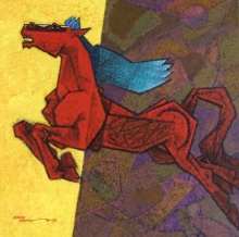 Animals Acrylic Art Painting title 'Horse Dynamism 2' by artist Dinkar Jadhav