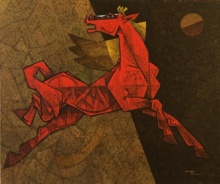 Horse - Exaltation | Painting by artist Dinkar Jadhav | acrylic | Canvas