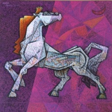 Animals Acrylic Art Painting title 'Horse Feminine' by artist Dinkar Jadhav