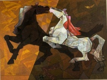 Horse - Indecent Love | Painting by artist Dinkar Jadhav | acrylic | Canvas