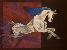 Dinkar Jadhav | Acrylic Painting title Horse The One Who Respects Love on Canvas | Artist Dinkar Jadhav Gallery | ArtZolo.com