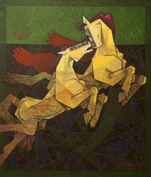 Horses - Live The Moment | Painting by artist Dinkar Jadhav | acrylic | Canvas