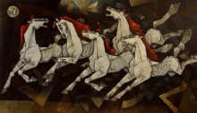 Horses Waltzing To Happiness | Painting by artist Dinkar Jadhav | acrylic | Canvas