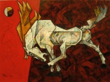 Horse - Life Is Dance Parade | Painting by artist Dinkar Jadhav | acrylic | Canvas