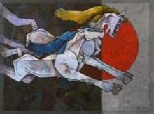 Animals Acrylic Art Painting title Running Horses by artist Dinkar Jadhav