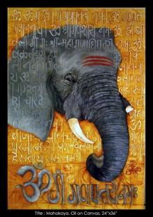 Religious Oil Art Painting title Mahakaya (Ganpati) by artist Mrs. Sushama Gode