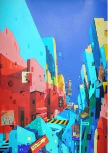 Fantasy Mixed-media Art Painting title Urban Landscape 3 by artist Abhijit Paul