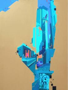 Abhijit Paul | Mixed-media Painting title Urban Landscape 4 on Canvas | Artist Abhijit Paul Gallery | ArtZolo.com