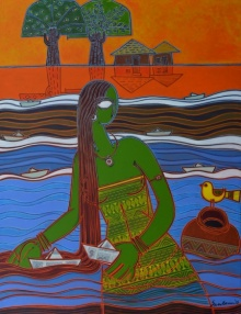 indian, lady, contemporary, folk, tribal art, canvas, acrylic, santanu, dinda, dog, village, radha, krishna, bird, paper, boat
