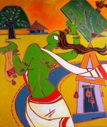 Figurative Acrylic Art Painting title Village Woman by artist Santanu Nandan Dinda
