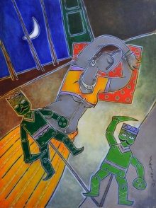 Figurative Acrylic Art Painting title Watchmen by artist Santanu Nandan Dinda