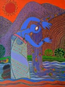 Figurative Acrylic Art Painting title Water fall by artist Santanu Nandan Dinda