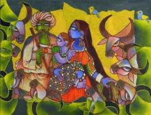 Sunita Dinda | Acrylic Painting title A Family on Canvas | Artist Sunita Dinda Gallery | ArtZolo.com