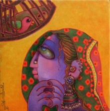 Figurative Acrylic Art Painting title 'Freedom 1' by artist Sunita Dinda