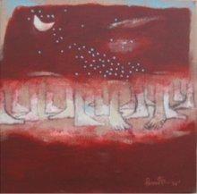 Figurative Acrylic Art Painting title Untitled 7 by artist Pradip Kumar Sau