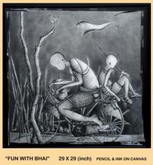 Figurative Pencil Art Drawing title Fun With Bhai by artist Trapti Gupta