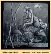 Pencil Paintings | Drawing title Main Paa ' Choti on Canvas | Artist Trapti Gupta