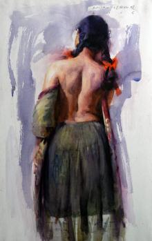 Figure V | Painting by artist Pramod Kurlekar | oil | Paper