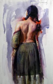 Pramod Kurlekar | Oil Painting title Figure V on Paper | Artist Pramod Kurlekar Gallery | ArtZolo.com