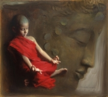 Pramod Kurlekar Paintings | Oil Painting - Meditated by artist Pramod Kurlekar | ArtZolo.com