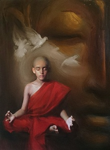 Pramod Kurlekar | Oil Painting title Monk on canvas | Artist Pramod Kurlekar Gallery | ArtZolo.com