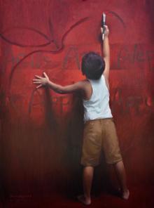 Pramod Kurlekar | Oil Painting title Universal Spell on Canvas | Artist Pramod Kurlekar Gallery | ArtZolo.com