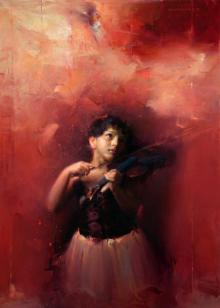 Pramod Kurlekar Paintings | Oil Painting - Waiting For Divine Tune by artist Pramod Kurlekar | ArtZolo.com