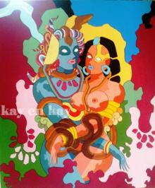 A Psychedelic Fusion | Painting by artist Narayanankutty Kasthuril | acrylic | Canvas Board