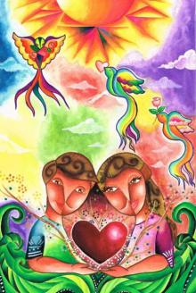 Love is Colorful | Painting by artist Chester Sia | mixed-media | Paper