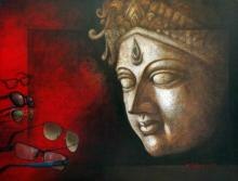 Religious Acrylic Art Painting title 'Intuition Of Inner Eye' by artist Palash Halder