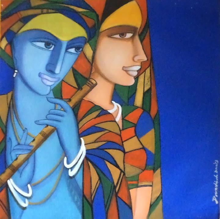Composition 4 By Artist Dewashish Das Figurative Art Acrylic Paintings