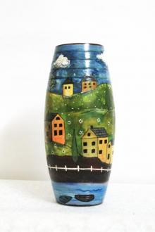 Akanksha Rastogi | Hand Painted Valley Vase Craft Craft by artist Akanksha Rastogi | Indian Handicraft | ArtZolo.com