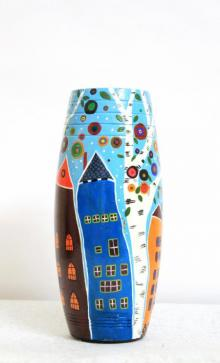 Hand Painted High Rise Vase | Craft by artist Akanksha Rastogi | Terracotta