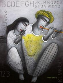 Figurative Acrylic Art Painting title 'Love Tune' by artist Samir Sarkar