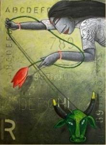 Figurative Acrylic Art Painting title Goddess Durga by artist Samir Sarkar