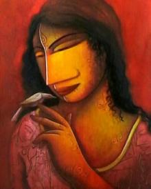 Woman In Pink | Painting by artist Samir Sarkar | acrylic | Paper