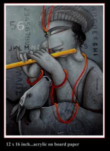 Figurative Acrylic Art Painting title 'Krishna' by artist Samir Sarkar