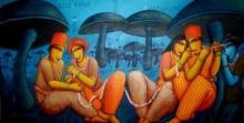 Figurative Acrylic Art Painting title 'Caring' by artist Samir Sarkar
