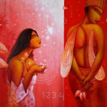 Figurative Acrylic Art Painting title 'Conciliate' by artist Samir Sarkar